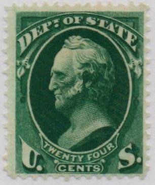 1873 24c dk grn, state, hard paper