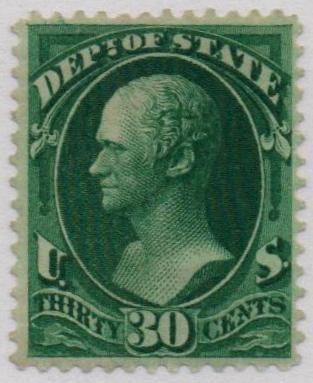 1873 30c dk grn, state, hard paper