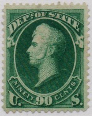 1873 90c dk grn, state, hard paper