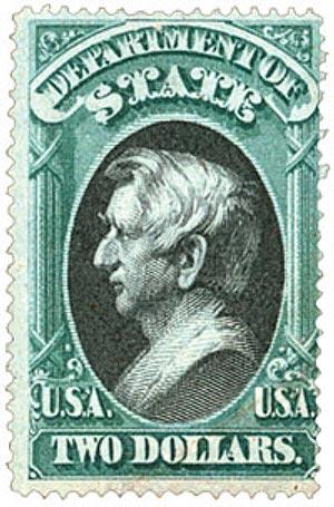 1873 $2 grn, blk, state, hard paper