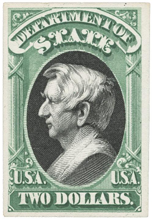 1873 $2 green & black, state