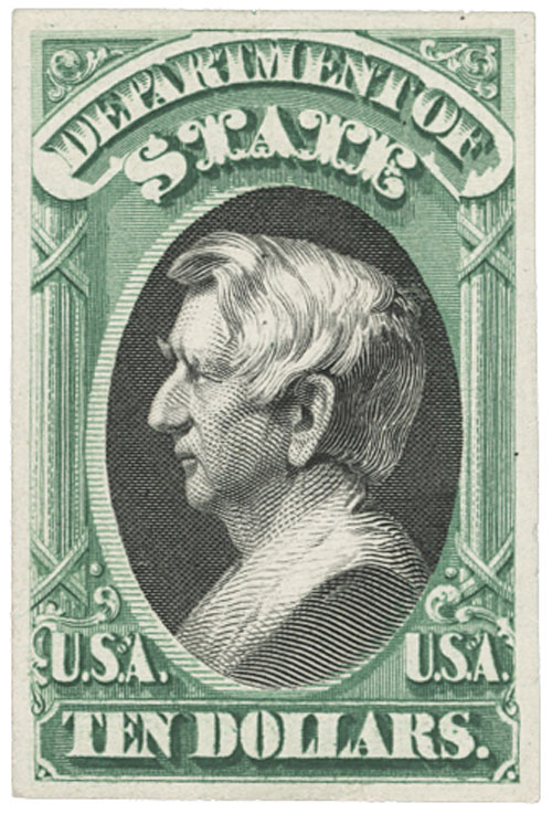 1873 $10 green & black, state