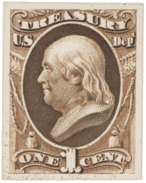 1873 1c brown, treasury