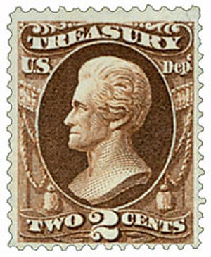 1873 2c brn, treasury, hard paper