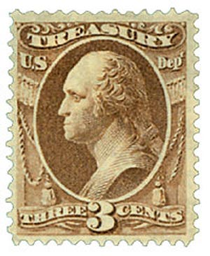 1873 3c brn, treasury, hard paper