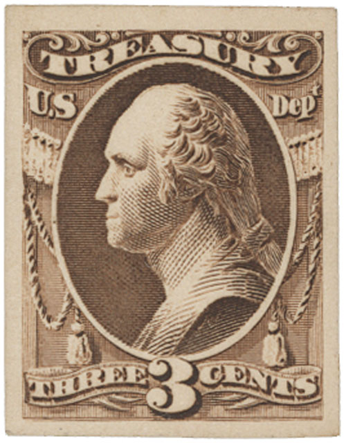 1873 3c brown, Treasury