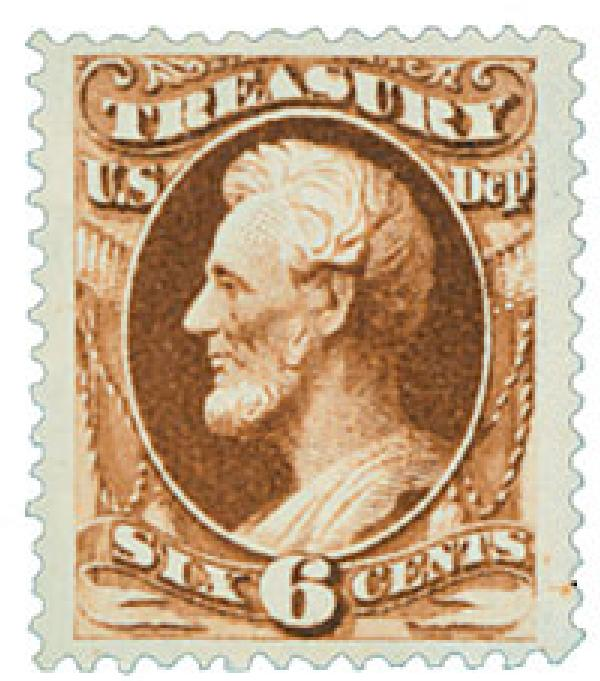 1873 6c brn, treasury, hard paper