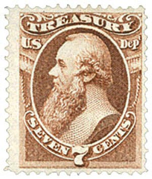 1873 7c brn, treasury, hard paper