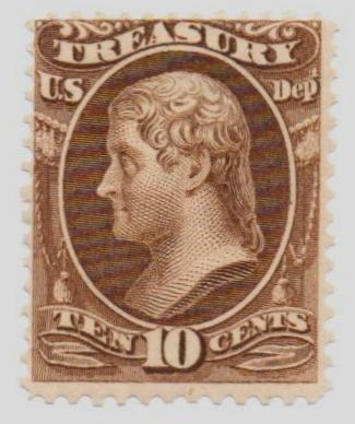 1873 10c brn, treasury, hard paper