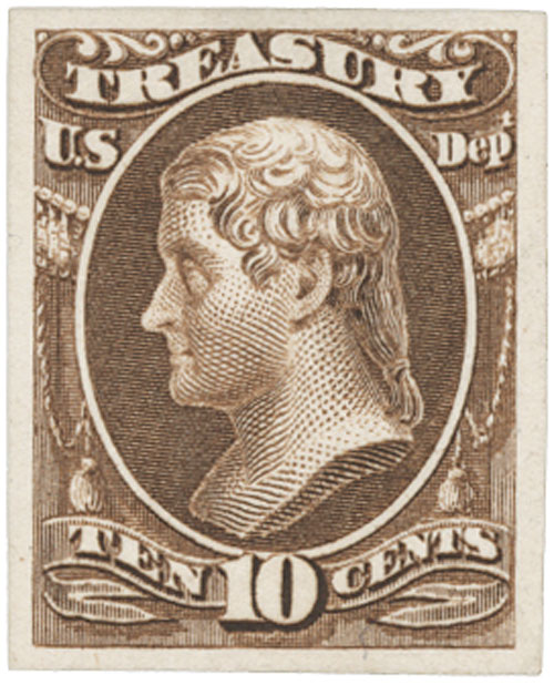 1873 10c brown, treasury
