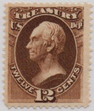 1873 12c brn, treasury, hard paper