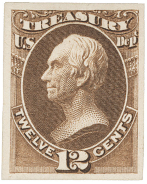 1873 12c brown, treasury