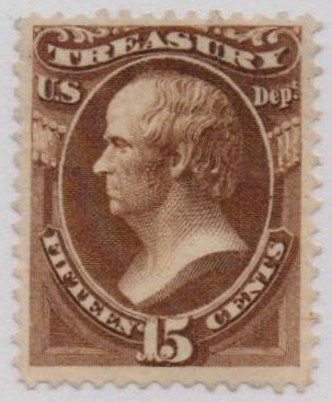 1873 15c brn, treasury, hard paper