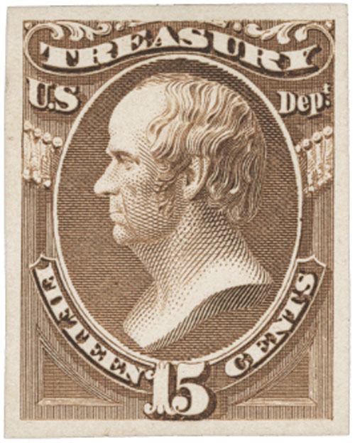 1873 15c brown, treasury