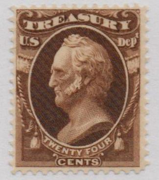 1873 24c brn, treasury, hard paper