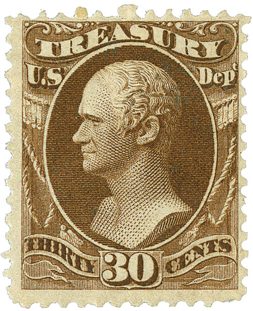 1873 30c brn, treasury, hard paper