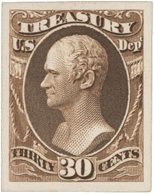 1873 30c brown, treasury
