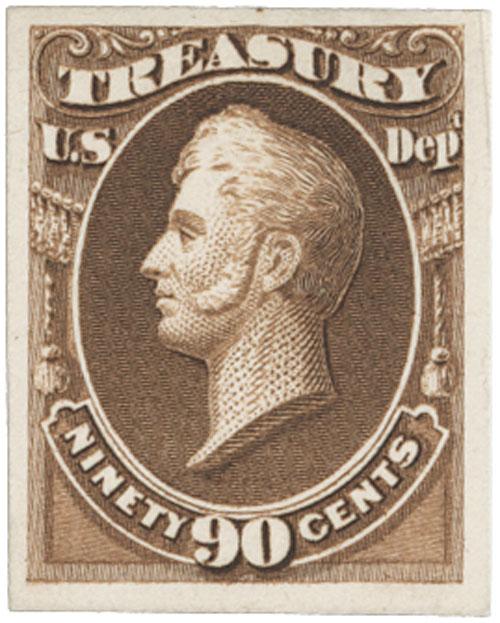 1873 90c brn, treasury, plate on card