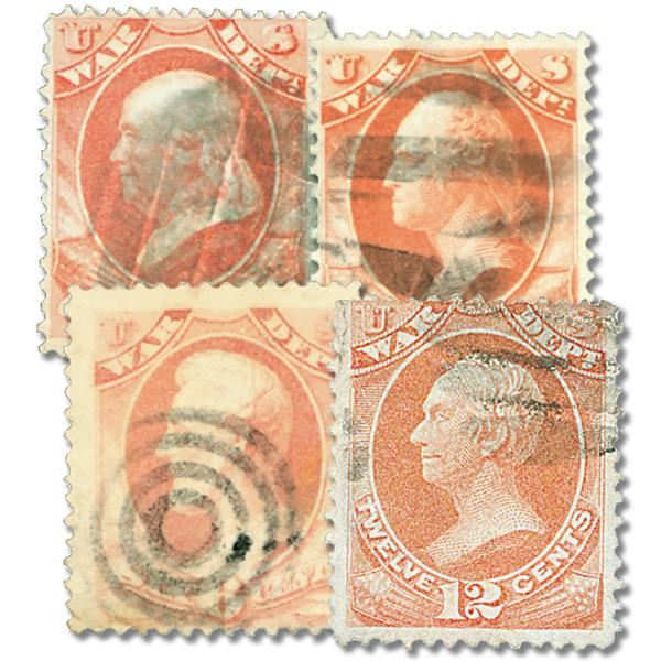 1873 Department of War, 4 Stamps