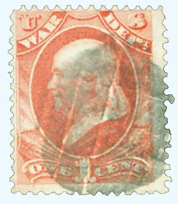 1873 1c ros, war, hard paper