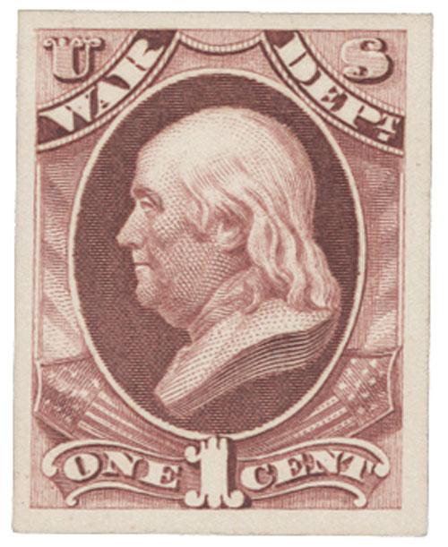 1873 1c rose, war