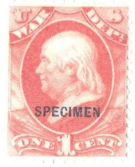 1875 1c Specimen Stamp - War Dept. - deep  rose, black overprint