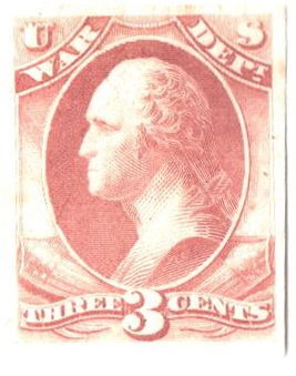 1873 3c rose, plate on India