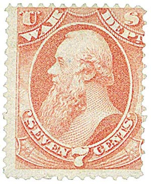 1873 7c ros, war, hard paper, block of 4