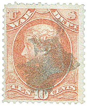 1873 10c ros, war, hard paper