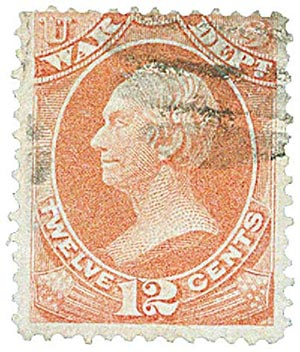 1873 12c Rose, War Department, Clay, Hard Paper