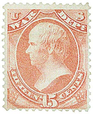 1873 15c ros, war, hard paper
