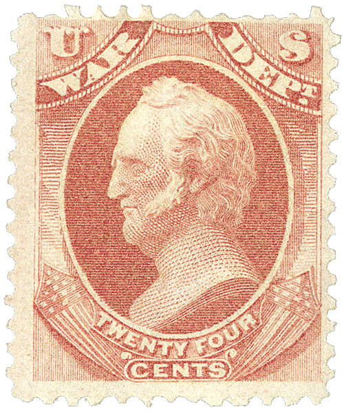 1873 24c ros, war, hard paper