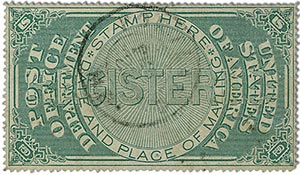 1872 Registry Seal - green, white wove paper, perf 12