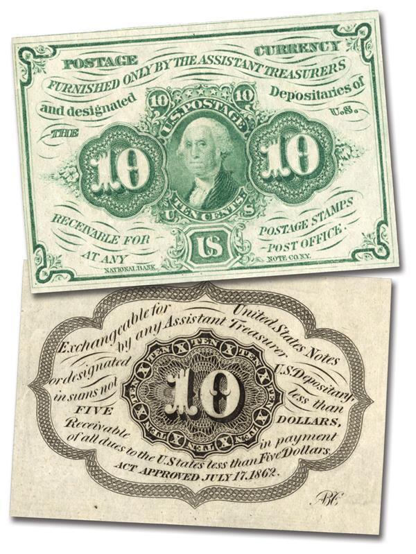 1862 10c Bust of Washington on 10c Stamp