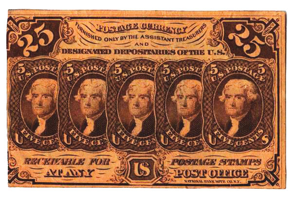 1862 25c five 5c stamps