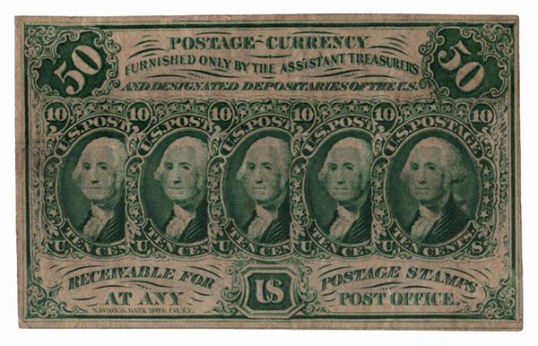 1862 50c five 10c stamps