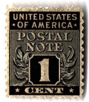 1945 1c Postal Note black