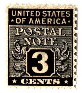 1945 3c Postal Note black