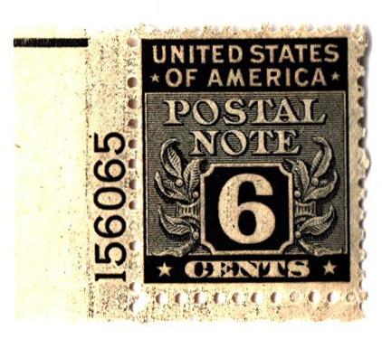 1945 6c Postal Note black