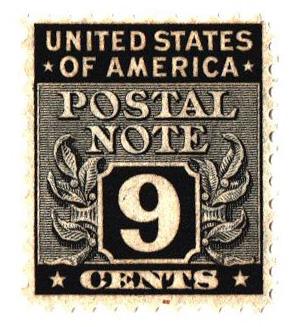 1945 9c Postal Note black