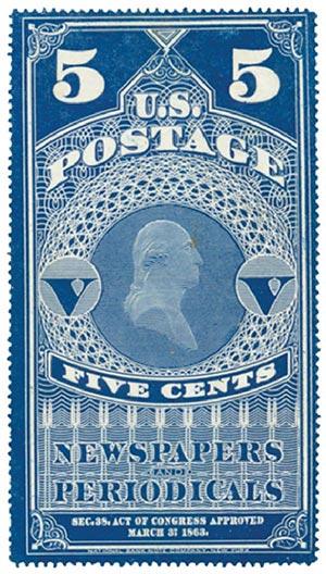 1865 5c dk bl, hard paper, no gum
