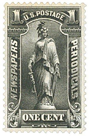 1896 1c blk, soft paper, wmk.