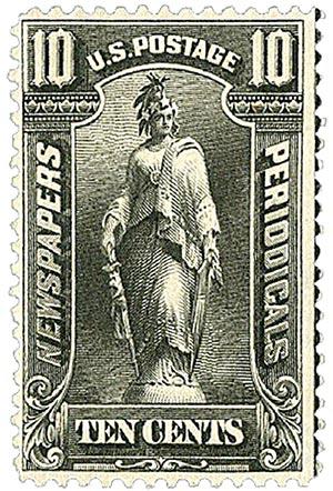 1895 10c blk, soft paper, wmk.
