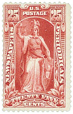 "1895 25¢ Newspaper & Periodical Stamp - ""Justice"" - carmine, watermark, soft paper"