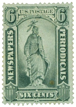 1875 6c blk, thin hard paper