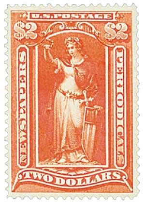 1897 $2 scarlet, soft paper, wmk.