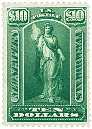 "1896 $10 Newspaper & Periodical Stamp - ""Vesta"" - green, watermark, soft paper"