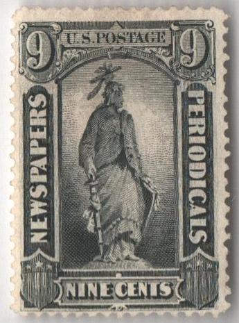 1875 9c blk, thin hard paper