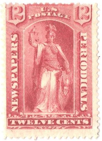 1875 12c ros, thin hard paper