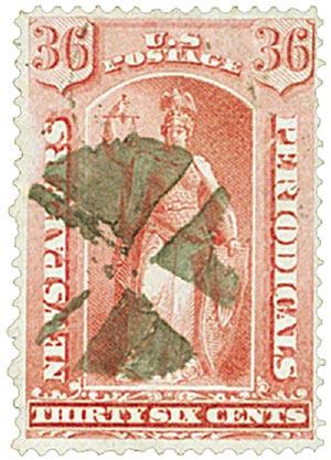 1875 36c ros, thin hard paper